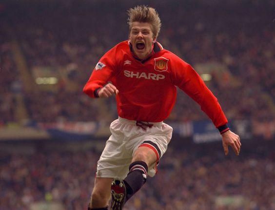 David Beckam celebrate scoring in the 1996 FA Cup semi final vs Chelsea