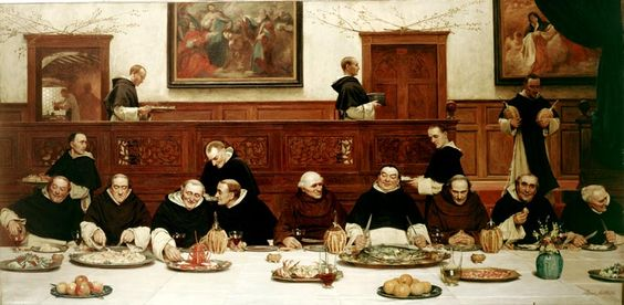 'Friday', Walter Dendy Sadler, 1882. Here Sadler shows Dominican monks entertaining two Franciscans with a meal. http://www.liverpoolmuseums.org.uk/walker/collections/