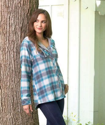 Women's Hooded Lined Flannel Jacket gives you a layered look without the bulk. Hooded, button-up jacket boasts a stylish plaid design and a flattering fit that