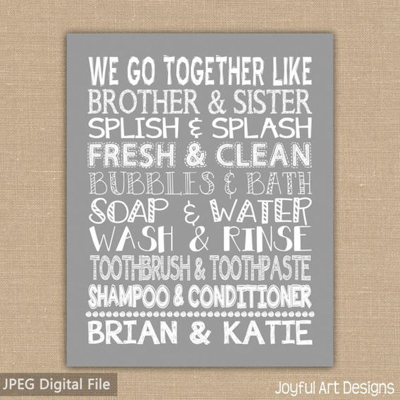 We go together like brother and sister bathroom sign for Kids jack and jill bathroom ideas