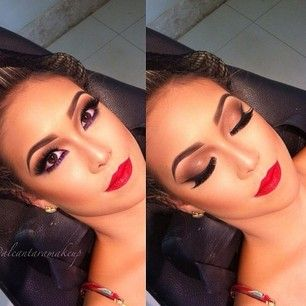 classic makeup with perfect brows and timeless red lips... this would be perfect for a pinup shoot!