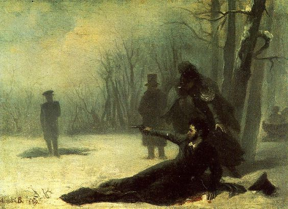 Duel of Alexander Pushkin and Georges d'Anthès.by Adrian Volkov, 1869