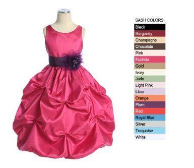 Bella Flower Girl or Party Dress in Fuchsia Clouds of Taffeta
