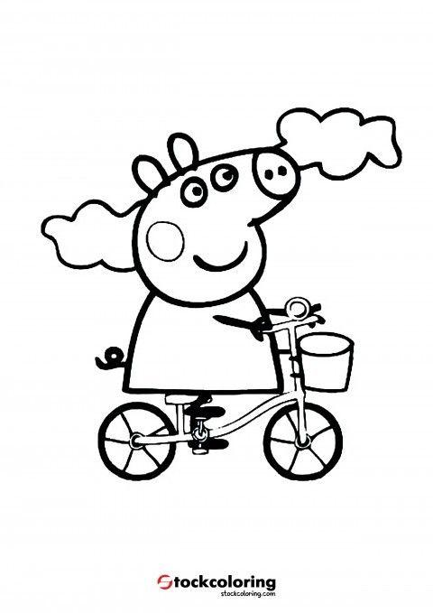 Peppa Pig Bike Coloring Peppa Pig Coloring Pages Peppa Pig