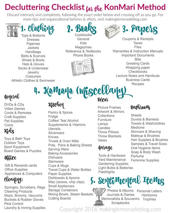 Free printable decluttering checklist for the KonMari Method Marie Kondo