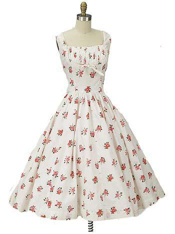 50s Authentic Vintage Jerry Gilden Floral Garden Party Dress ...