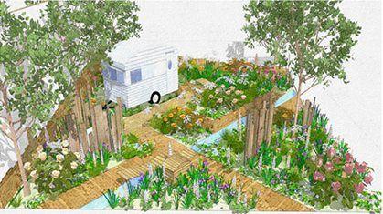 Caravan Focused show garden at RHS Chelsea Flower Show