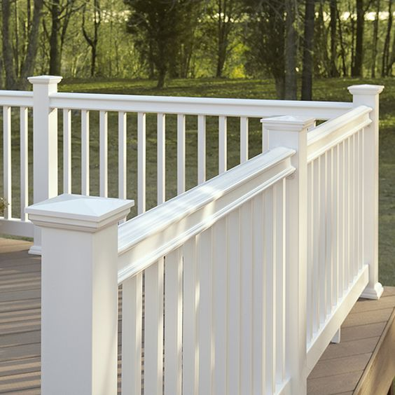 Fiberon homeselect 2 pack white composite deck handrails common 8 ft actual 4 in x 6 in x 8 - Vinyl deck railing lowes ...