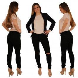 Damen Jeans Röhrenjeans mit Push Up Effekt am Po und Rissen am Knie