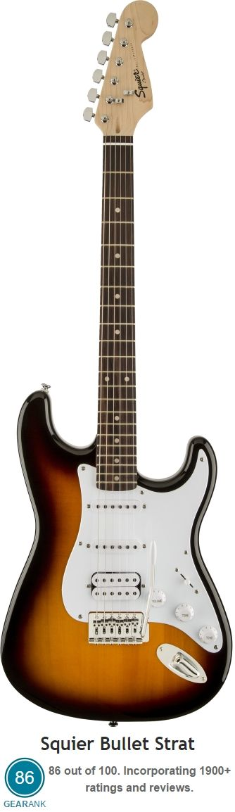 Squier Bullet Strat.  Rated as one of the best Electric Guitars Under $200. Street Price: $150.