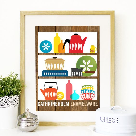 Mid Century Modern decor shelves with by PeanutoakPrint on Etsy: Mid Century Modern, Kitchen Wall Art, Century Cathrineholm, Modern Art, Mid Century Kitchens, Cathrineholm Mid, Cathrineholm Kitchenware And
