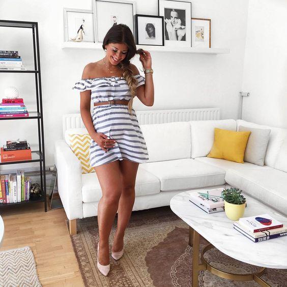 Mimi Ikonn Preggo Style Mimi Ikonn Pregnant Striped Dress Summer style:
