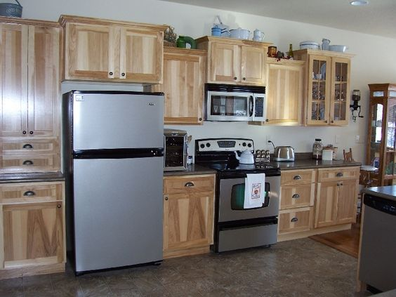 Hickory Cabinets Grey Countertop And Floor Kitchen