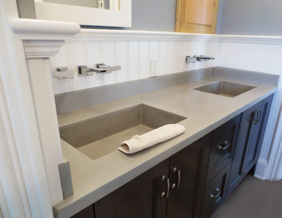 This is a concrete bathroom vanity sink by Trueform Concrete that features  double Novo concrete sinks. Concrete sink  Sinks and Concrete bathroom on Pinterest