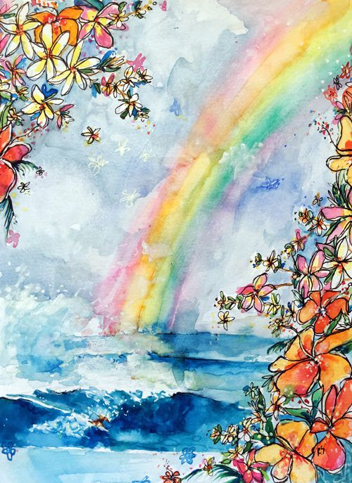 Some Wave Under The Rainbow In 2020 Rainbow Drawing Rainbow
