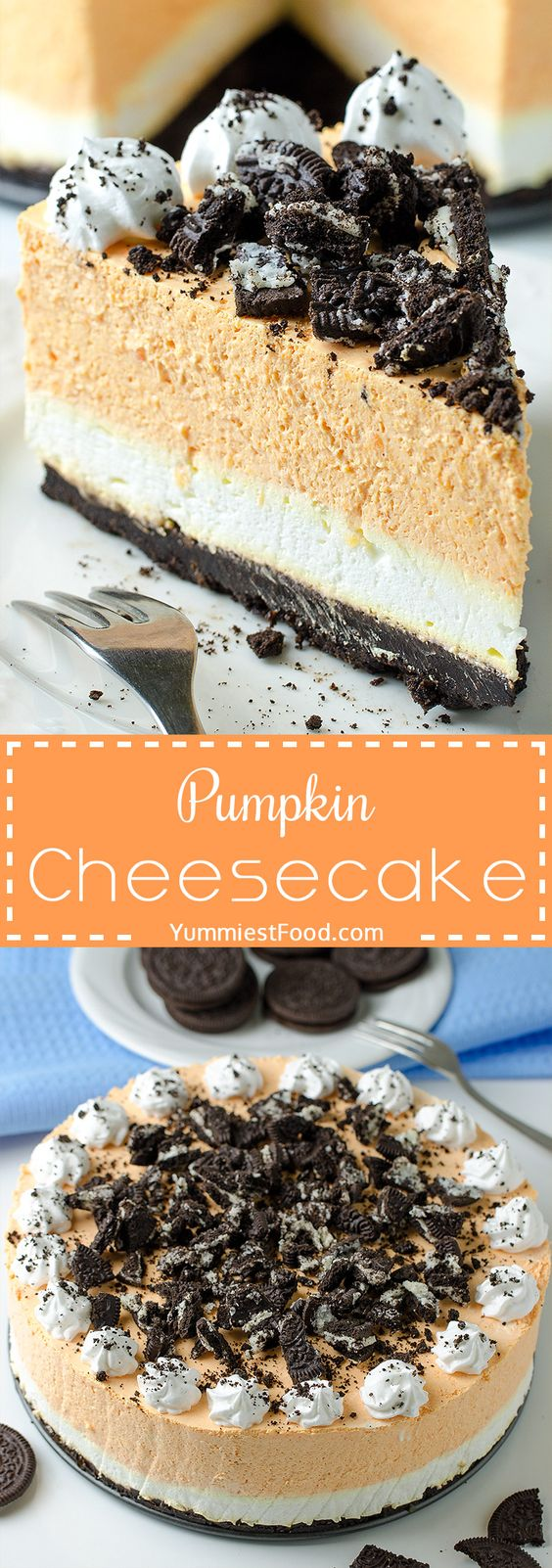 PUMPKIN CHEESECAKE WITH OREO CRUST - NO BAKE – No Thanksgiving table is complete without pumpkin cheesecake! This perfect NO BAKE recipe is creamy, delicious and so very good! The perfect dessert for your Thanksgiving dinner party!