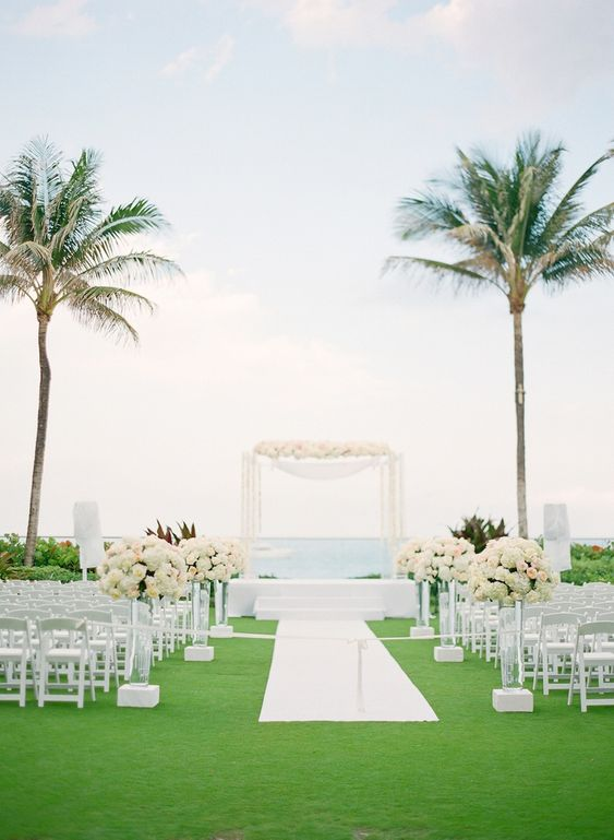 Oceanfront Ceremony Décor    Photography: KT Merry Photography   Read More:  http://www.insideweddings.com/weddings/soft-hued-spring-wedding-at-the-breakers-in-palm-beach-florida/581/
