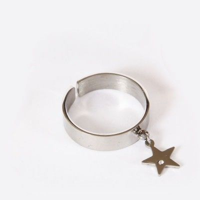 Bague anneau acier pampille étoile