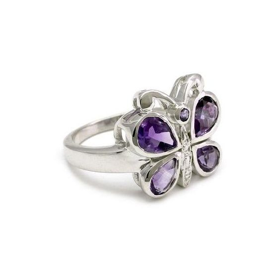 NOVICA Amethysts on Sterling Silver Cocktail Ring from India ($45) ❤ liked on Polyvore featuring jewelry, rings, amethyst, multi-stone, wing ring, womens jewellery, multi stone rings, engagement rings and pandora jewelry