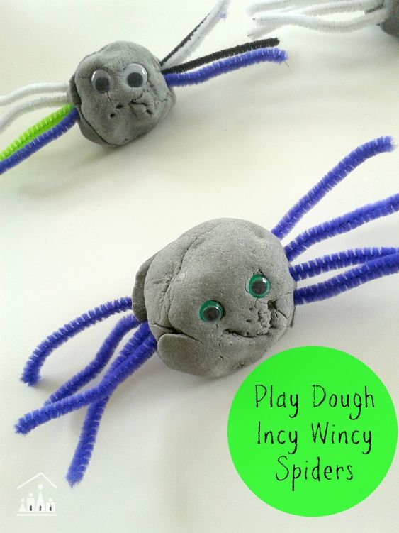 """Invitation to make Play Dough Incy Wincy Spiders. The perfect actiivty to do alongide the kids nursery rhyme """"Incy Wincy Spider"""" made with home made play dough."""