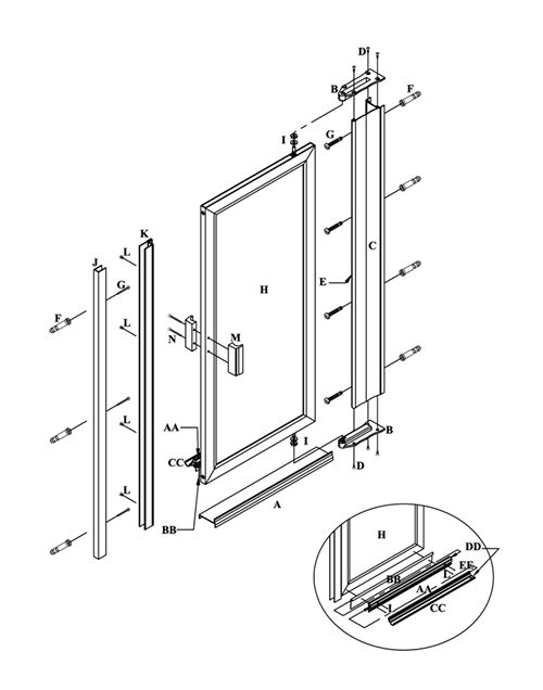 Pivot doors details ideas for a pivot door wall for Sliding glass doors drawing