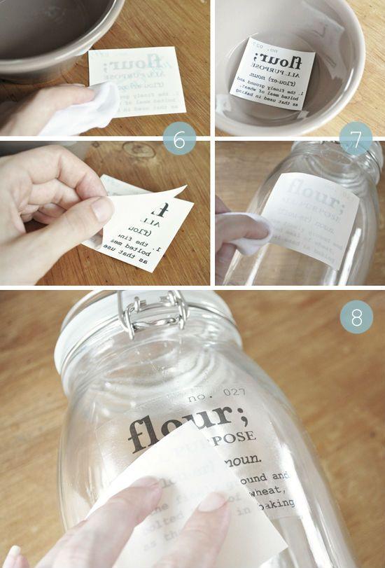 DIY transferir etiquetas tarro cristal