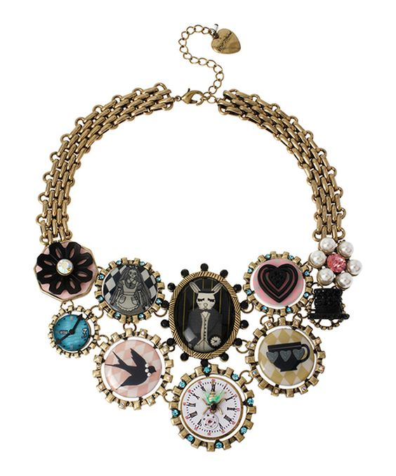 Look at this Pink & Goldtone Wonderland Drama Bib Necklace on #zulily today!
