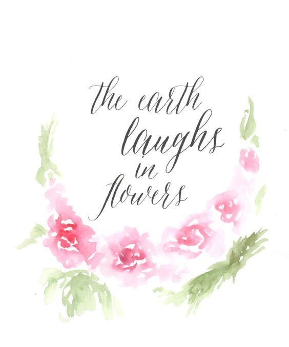 The Earth Laughs in Flowers, Watercolor Print by SariasCreates on Etsy: