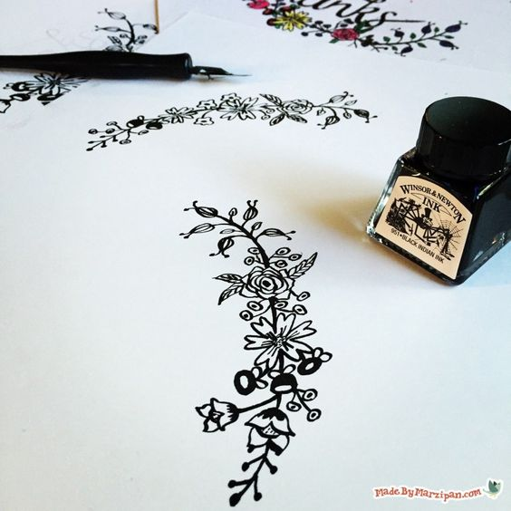 Learn how to draw simple flower borders with a dipping pen Easy calligraphy pen