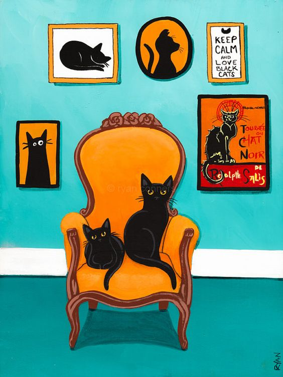 The Turquoise Room  Original Cat Folk Art by KilkennycatArt: