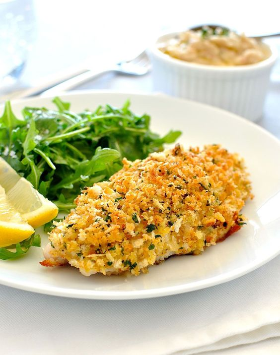 Healthy parmesan garlic crumbed fish recipe baked cod for Healthy fish dinner recipes