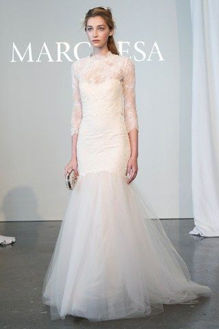Marchesa's spring 2015  #lace, long, sleeved, white, wedding, dress