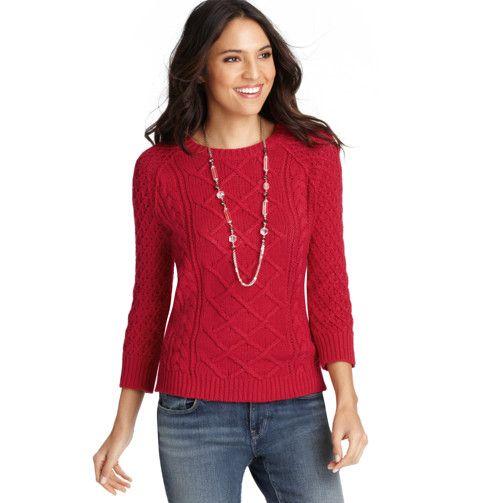 Loft - LOFT Sweaters - Button Back Cotton Blend Cable Sweater