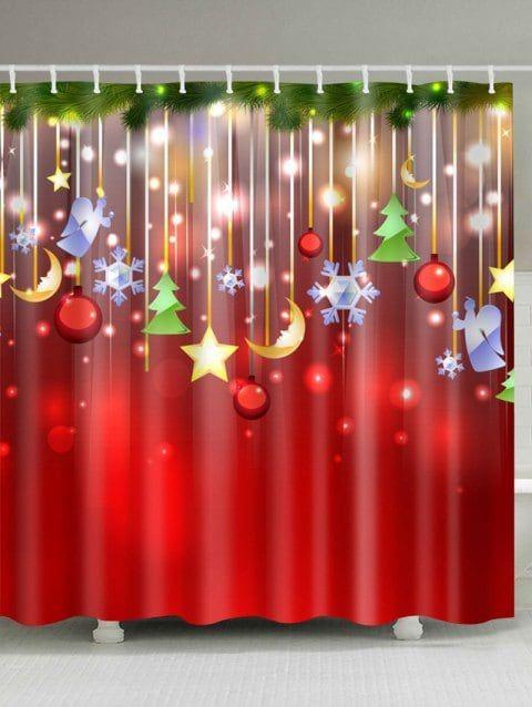 Red Christmas Waterproof Bathroom Shower Curtain Stars Moon