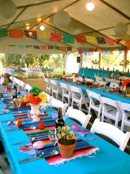 Choose Bright Colors for a #Fiesta - Your #Mexican-themed_party is sure to be a #stunner if you mix bright colors with a white background. Sharp, crisp and clean makes a fun and bold statement.