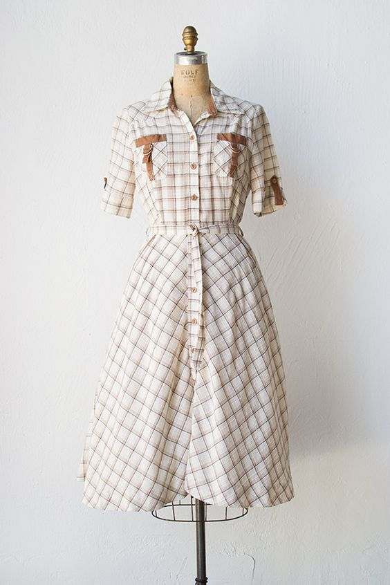 vintage 1950s Western inspired plaid dress  Weekend Saloon Dress ...