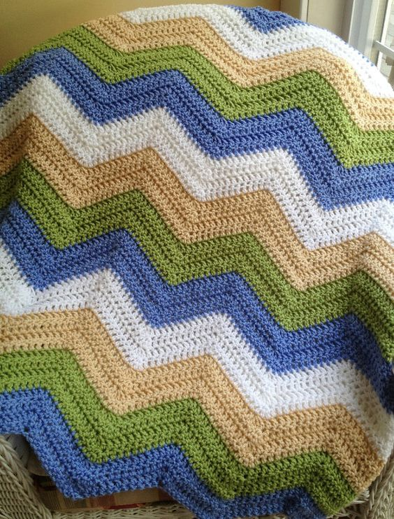 new chevron zig zag ripple baby blanket afghan wrap ...