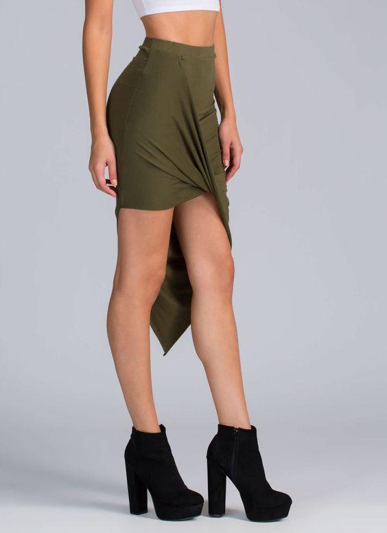 Drape Up Asymmetrical Skirt GoJane.com
