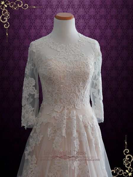 Modest Blush Lace Wedding Dress with Long Sleeves | Charmine