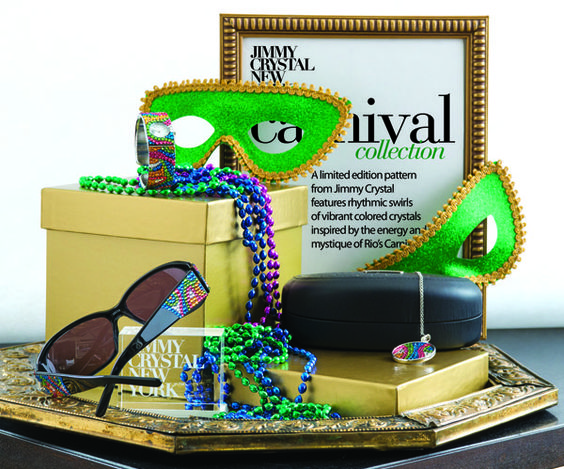 Bright, colorful season-less display inspired by the @James Barnes Barnes B Crystal New York Carnival eyewear and accessory collection. Gold accents and masquerade props complete the storyline in this fun and aesthetic display idea. #diy #merchandising