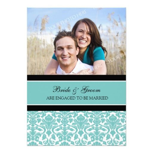See MoreTeal Damask Photo Engagement Party Invitationsonline after you search a lot for where to buy