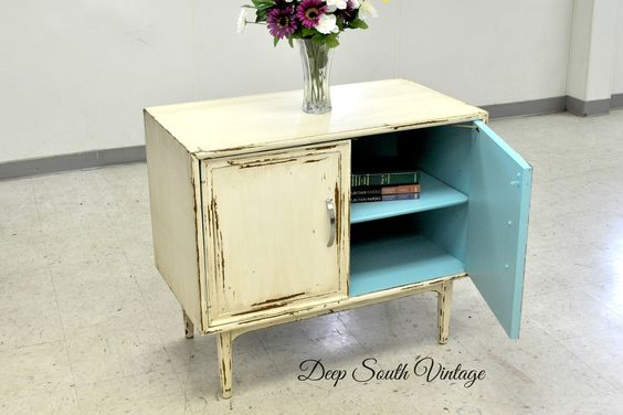 Small retro storage cabinet painted in Miss Lillian's No Wax Chalk Paint. See more at www.facebook.com/deepsouthrecreations.