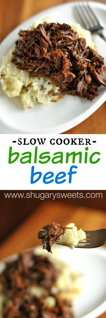 Slow Cooker Balsamic Shredded Beef: comfort food without turning on the oven! Moist, tender beef! #crockpot