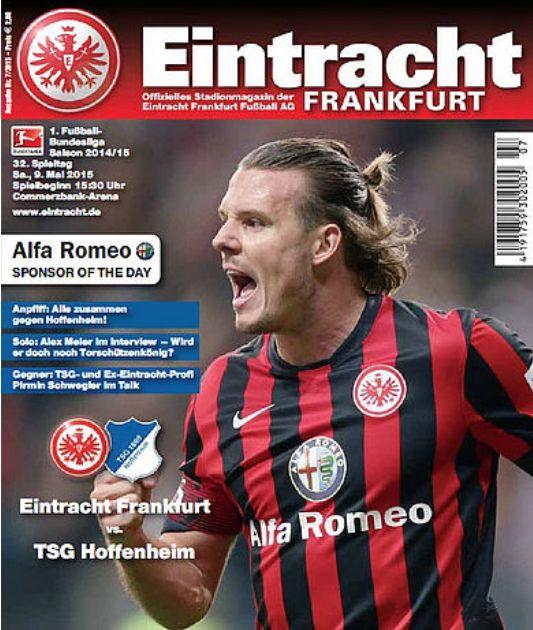 """STADIONMAGAZIN So wichtig wie Bratwurst, Schoppe und die anderen 50.000. 6:2 gegen Köln! Dreimal Alex Meier, sein erster Dreier-Pack in der Bundesliga, im ersten Spiel nach mehr als 5 Monaten Verletzungspause. Seit 11 Jahren für die SGE am Ball, hat 78 Bundesliga-Tore erzielt, Torschützenkönig (19) in der Saison 14/15. Die Fans skandieren: """"Er trifft mit dem Fuß, er trifft mit dem Kopf, er trifft wie er will, sogar mit dem Zopf. Alex Meier, Fußballgott."""" Wahnsinn! Wer kann da noch in Ruhe…"""