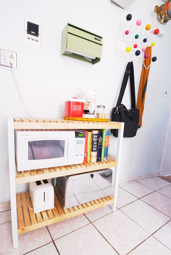 Ikea hacks ikea and benches on pinterest for Microwave carts ikea