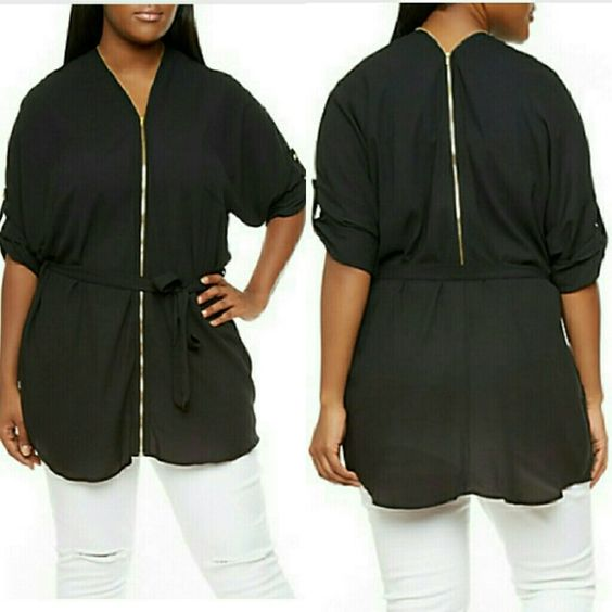 Zip up Blouse 100% Polyester Tops Blouses
