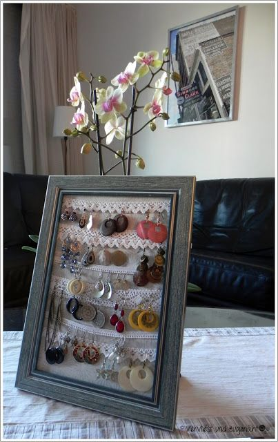 Pretty Jewelry Organizer using crochet or lace trim and a picture frame