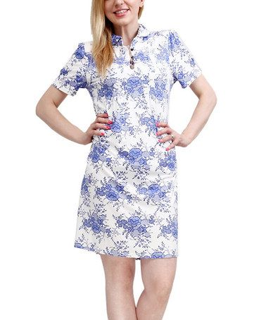 Loving this Blue & White Floral Collared Shirt Dress - Women on #zulily! #zulilyfinds