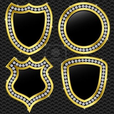 Set of vector shields, golden with diamonds, vector illustration  Stock Photo - 11660810