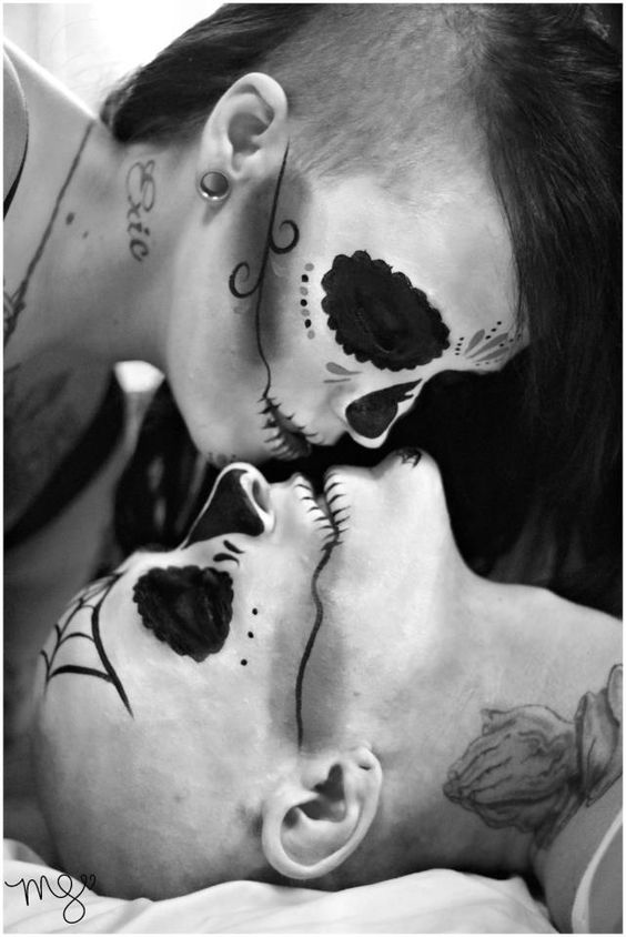 Beautiful Sugar Skulls for black and white pictures by X-Facion Face and Body Painting and Magen Spence Photography.